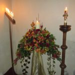 Altar Flower Arrangement for Christmas with Candles