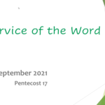 Sunday 19 September 2021 - Service of the Word