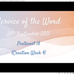 Sunday 26 September 2021 - Service of the Word